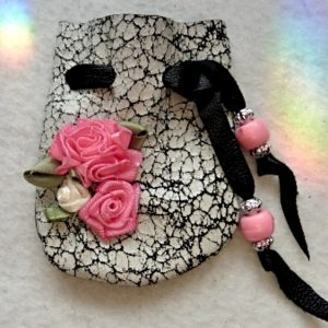 Pink ribbon Roses, crackle leather mini pouch
