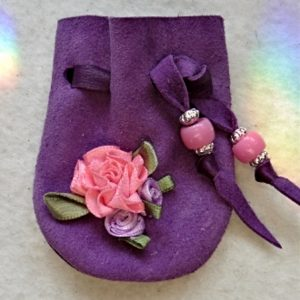 Pink ribbon Roses purple suede mini pouch
