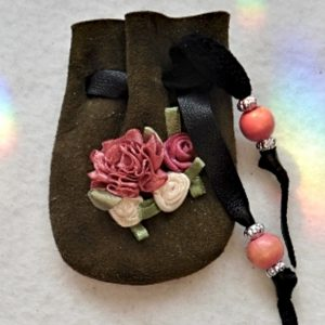 Ribbon Roses green suede mini pouch