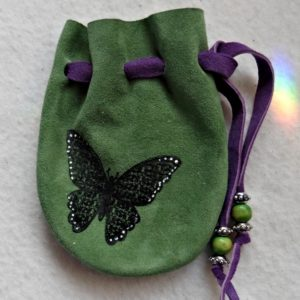 Butterfly Spirit Animal Green Suede pouch