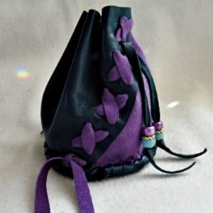 Patchwork Barrel bag forest green and purple