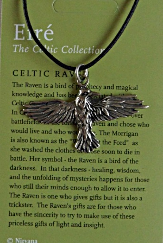 Raven Pewter Necklace Flying