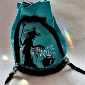 Witch image on turquoise suede Barrel Bag
