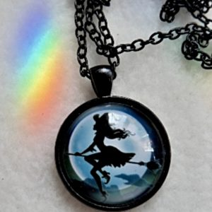 Witch on broom necklace 800