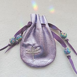 Dragonfly purple shimmery leather mini pouch