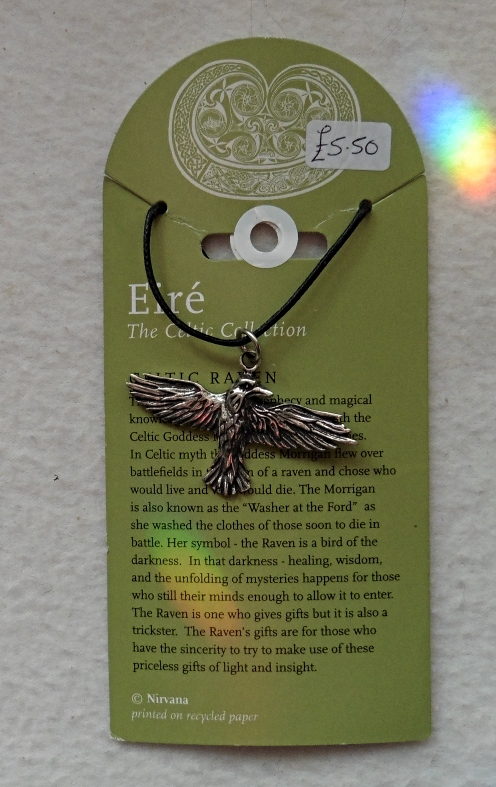 Raven Pewter Necklace Flying full view