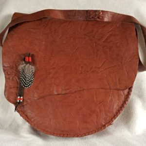 15 inch tan patterned leather with Ginny Fowl Feathers